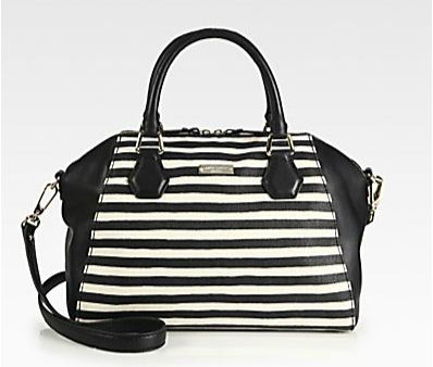 Kate Spade New York Catherine Pippa Striped Mixed-Media Satchel | $368 | Image courtesy of Saks