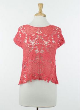 Perfect Knitted Lace Crop in Coral - Hazel2Blue