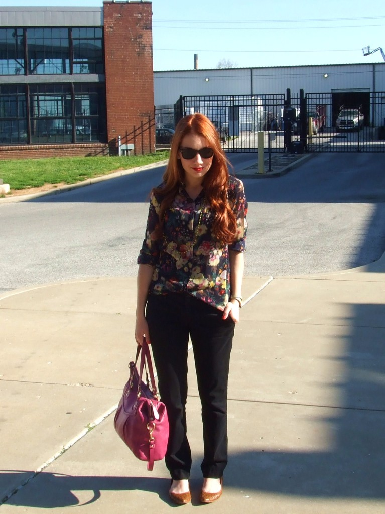 Look: JCP, JCPenney Floral Blouse, Black Skinnies, BCBG, BCBGeneration flats