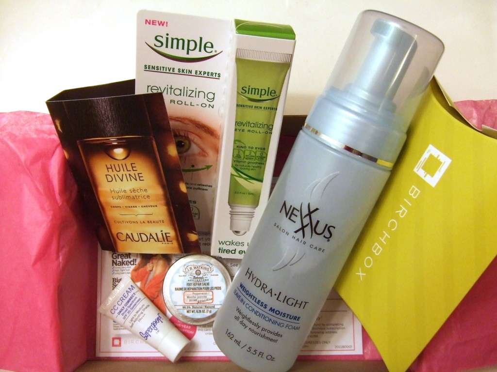 Birchbox No. 6: Simple, Nexxus, Supergoop!, J. R. Watkins, Caudalie