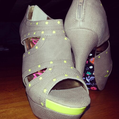 Neon + Taupe Stilettos by Betseyville (for the price of a sandwich)
