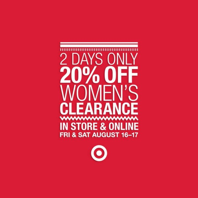 GO TO TARGET, ASAP | 20% off Women's Clearance + Matching Coupons