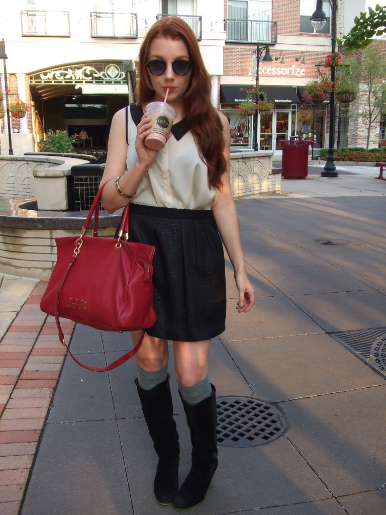 "Outfit"" Black Skirt, Black Knee Boots, Tall Socks, Peter Pan Collar, MBMJ Too Hot To Handle Tote"
