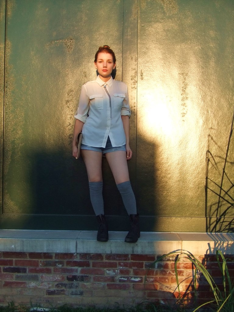 Bolo Tie Necklace with Cut Offs and Cream Blouse (2)