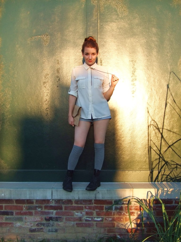 Bolo Tie Necklace with Cut Offs and Cream Blouse (3)