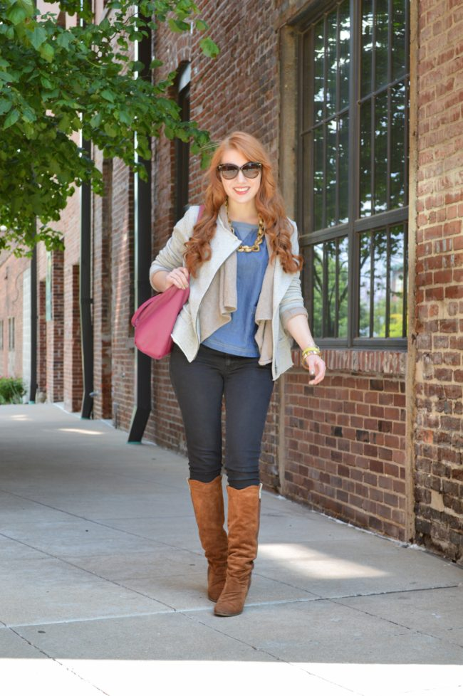 Springtime Layers | Dear, Sweet Knit Moto Jacket