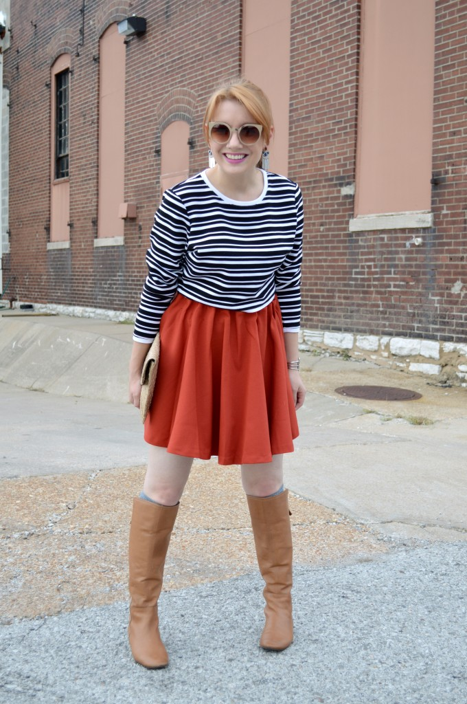 Pitaya Burnt Orange Circle Skirt and Cropped Sweater (1)