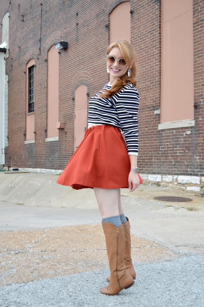 Pitaya Burnt Orange Circle Skirt and Cropped Sweater (2)