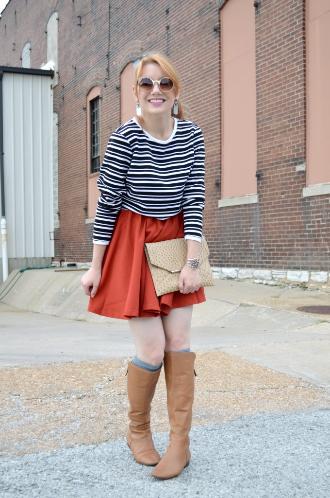Pitaya Burnt Orange Circle Skirt and Cropped Sweater (3)