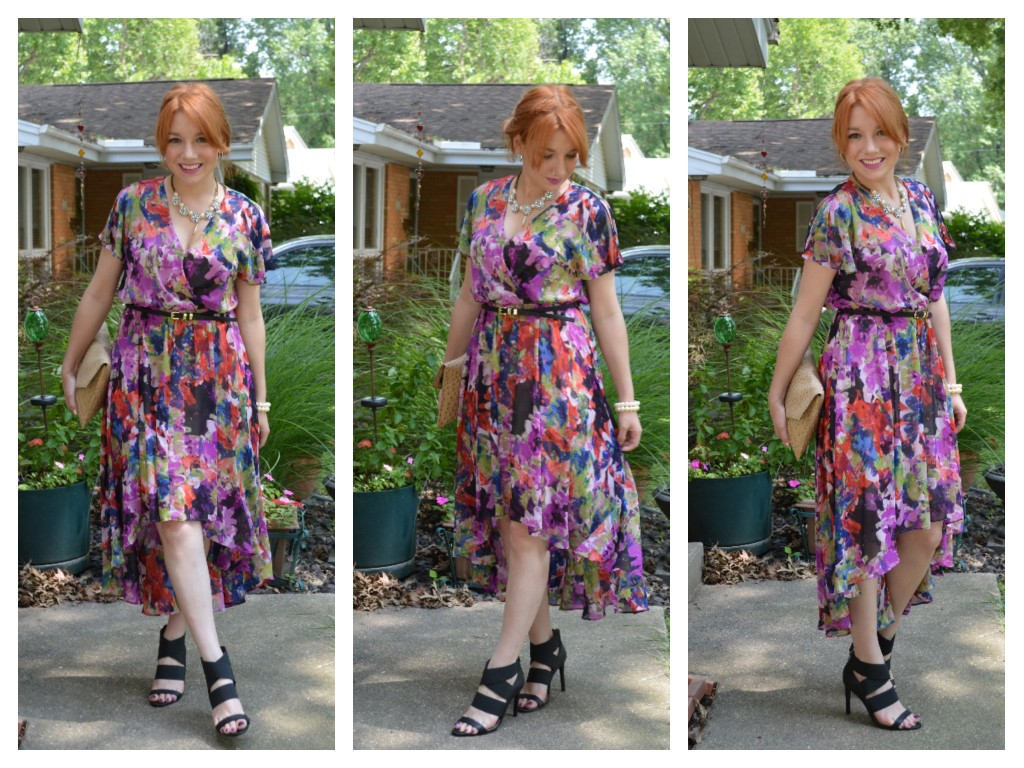 london times high low floral dress purple with summer strappy heels