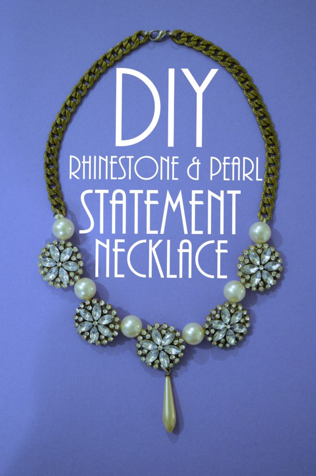 DIY Rhinestone and Pearl Statement Necklace (And Bracelet!)