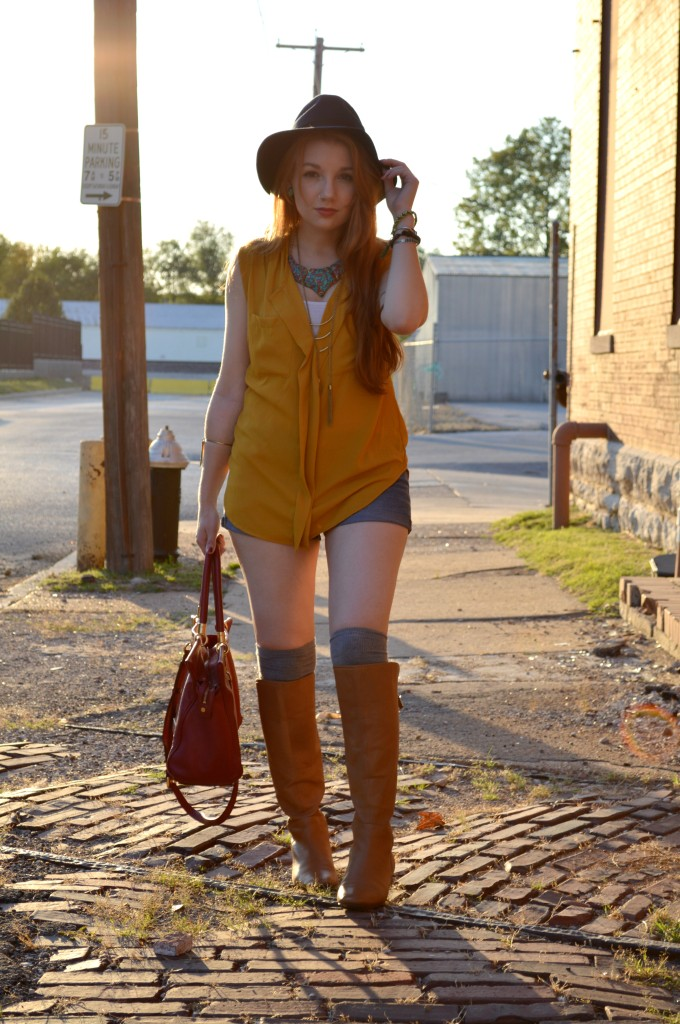 pitaya mustard top - shorts - thigh high socks - felt hat - boots - mbmj too hot to handle tote (1)