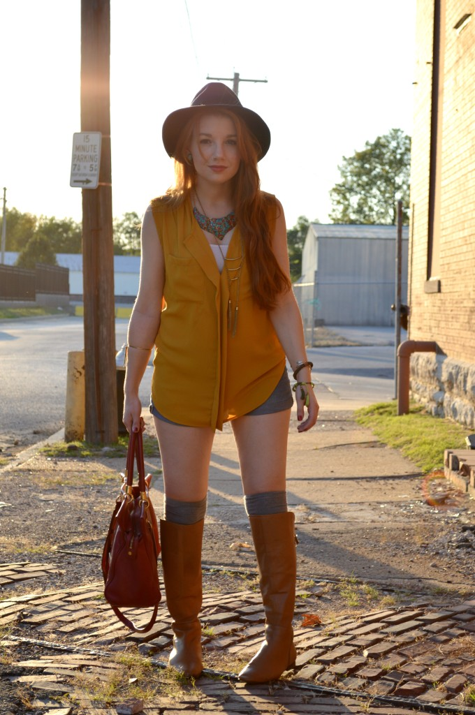 pitaya mustard top - shorts - thigh high socks - felt hat - boots - mbmj too hot to handle tote (2)