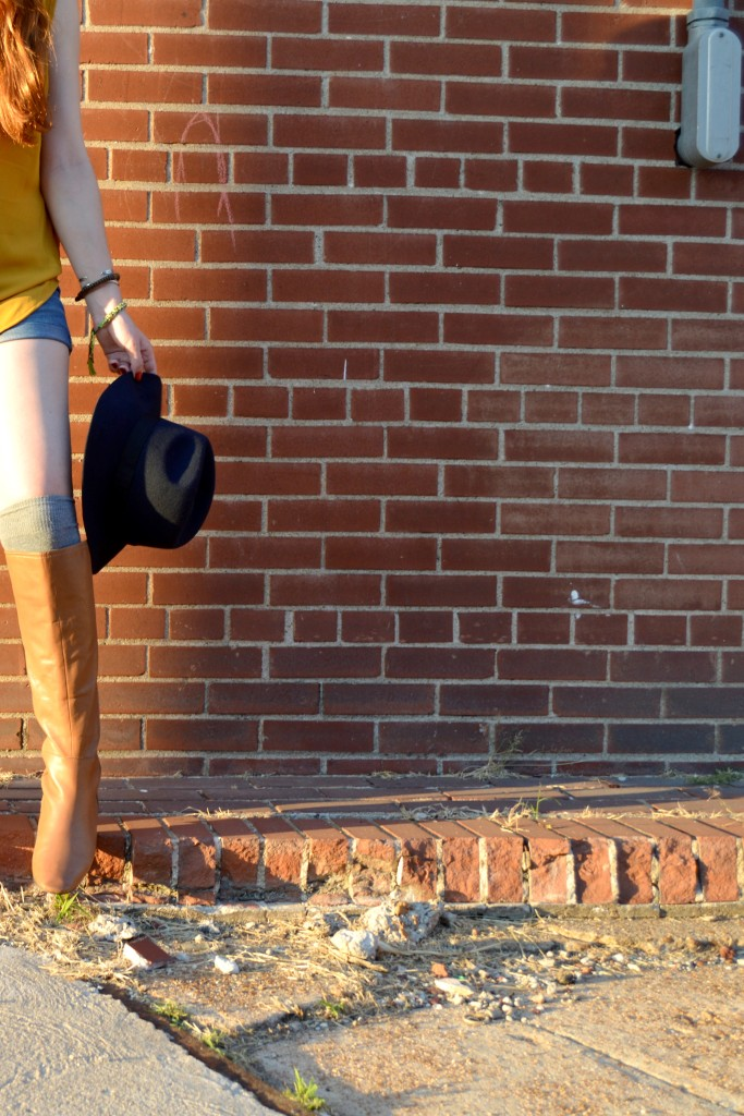 pitaya mustard top - shorts - thigh high socks - felt hat - boots - mbmj too hot to handle tote (5)