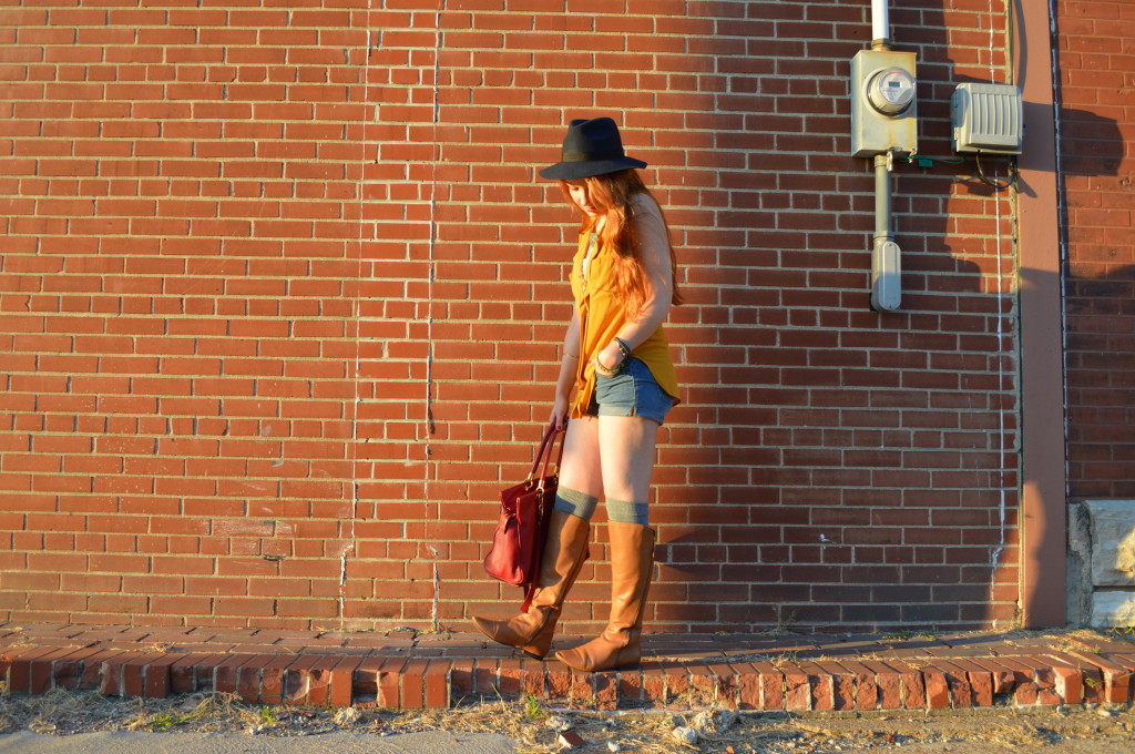 pitaya mustard top - shorts - thigh high socks - felt hat - boots - mbmj too hot to handle tote (6)