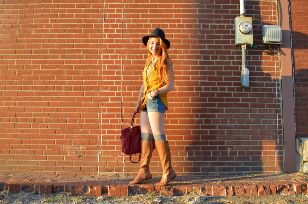 pitaya mustard top - shorts - thigh high socks - felt hat - boots - mbmj too hot to handle tote (7)