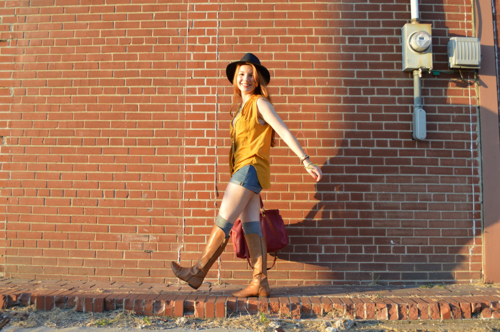 pitaya mustard top - shorts - thigh high socks - felt hat - boots - mbmj too hot to handle tote (8)