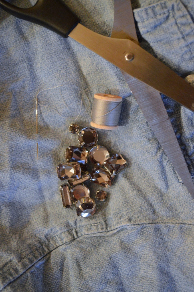 DIY Rhinestone Chambray Shirt (1)