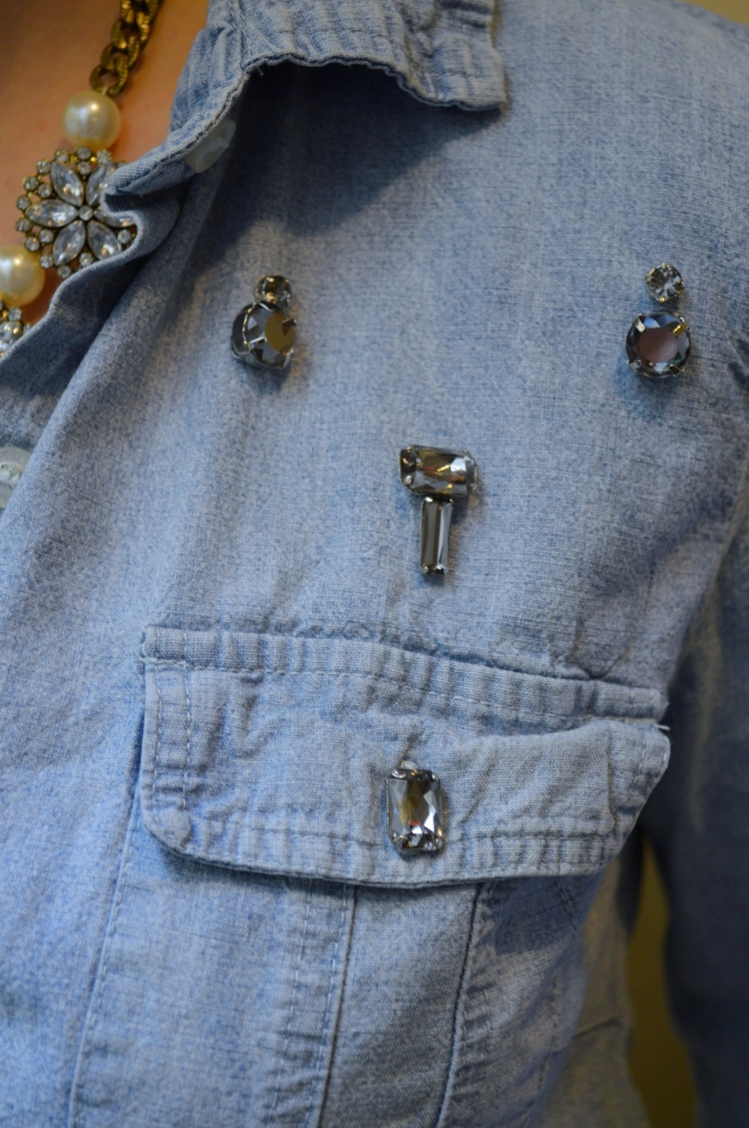 DIY Rhinestone Chambray Shirt (4)