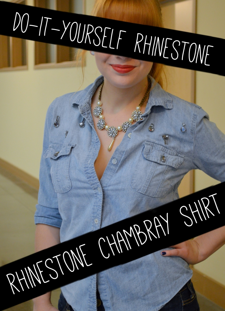 DIY Rhinestone Chambray Shirt