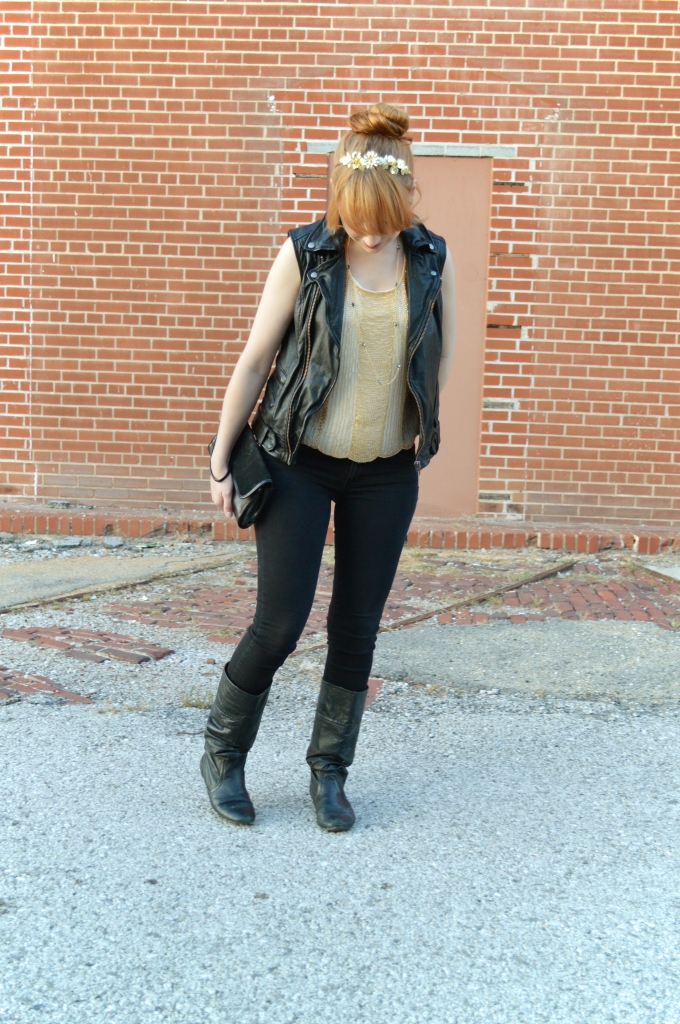 Beaded Art Deco Crop Top with Leather Vest and Skinny Jeans (3)