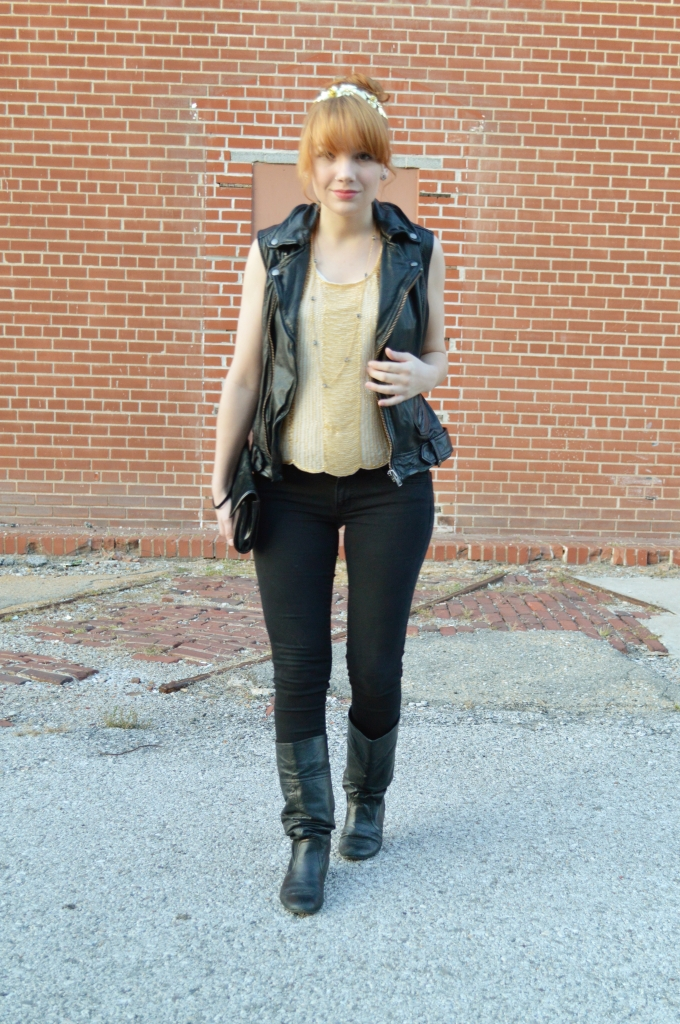 Beaded Art Deco Crop Top with Leather Vest and Skinny Jeans (4)