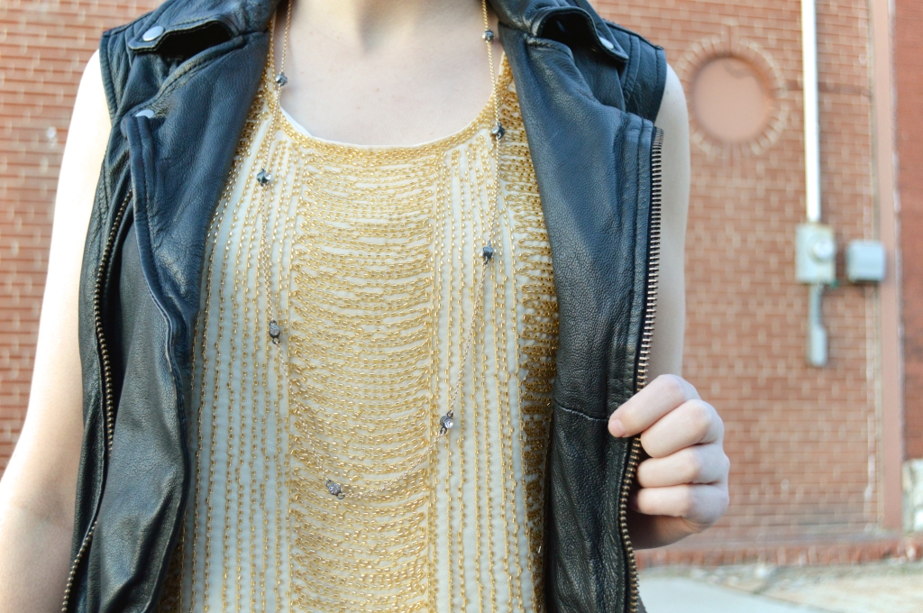 Beaded Art Deco Crop Top with Leather Vest and Skinny Jeans (6)