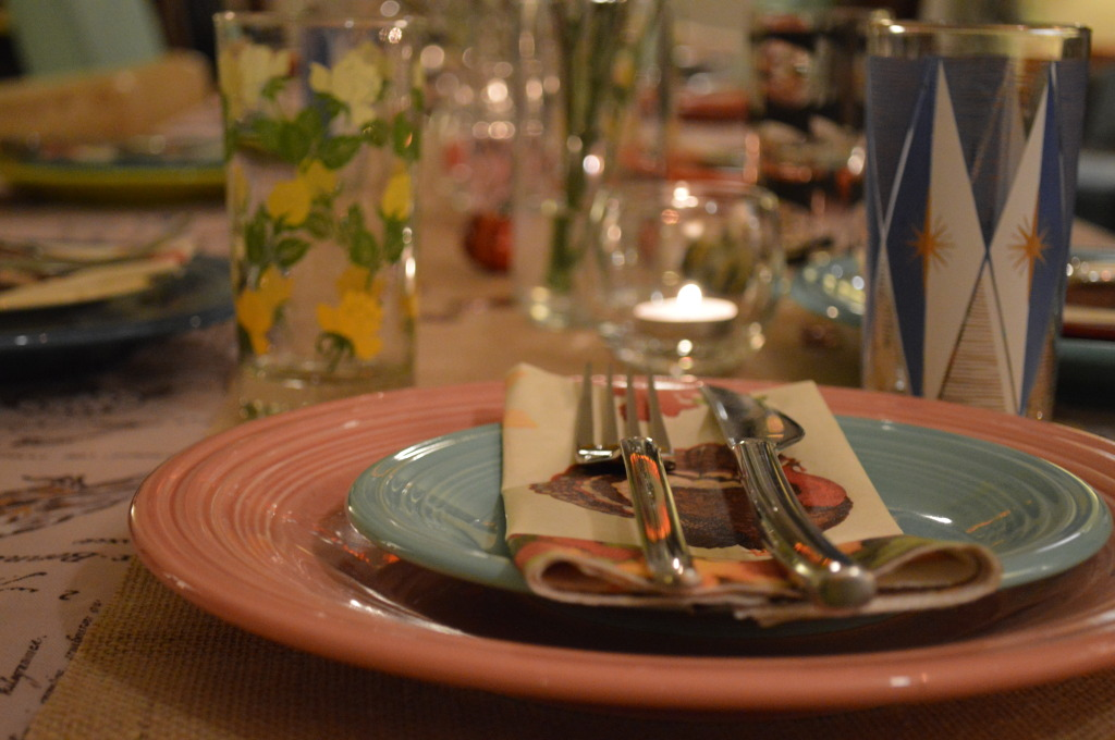 Thanksgiving Table Setting - Mismatched chairs, vintage glasses, mason jars, burlap, candles, and Fiestaware plates (1)