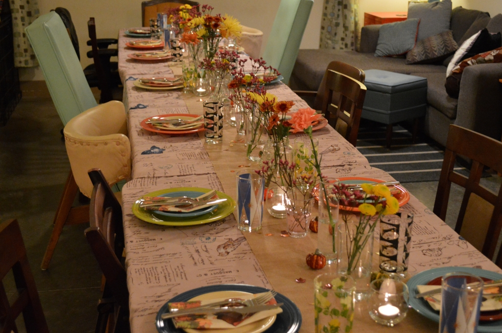 Thanksgiving Table Setting - Mismatched chairs, vintage glasses, mason jars, burlap, candles, and Fiestaware plates (2)