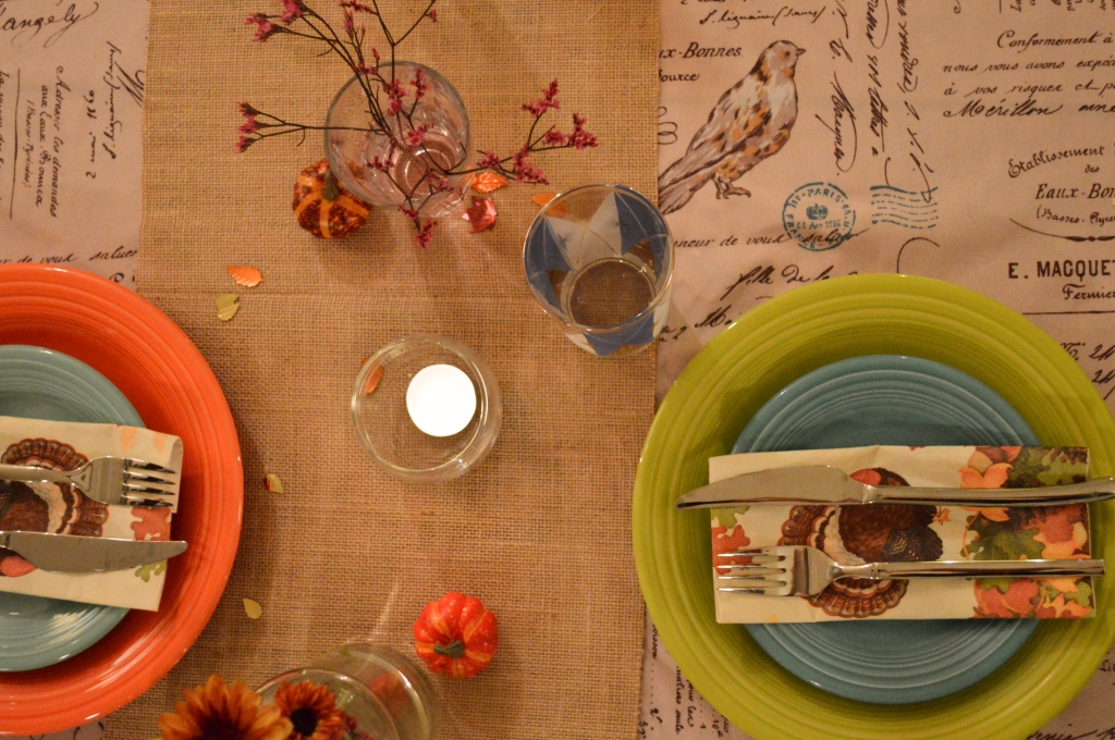 Thanksgiving Table Setting - Mismatched chairs, vintage glasses, mason jars, burlap, candles, and Fiestaware plates (5)