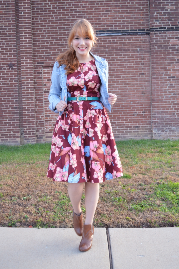 Voodoo Vixen Autumn Floral Retro Pin-Up Dress with Booties and a Denim Jacket - OhJuliaAnn (1)