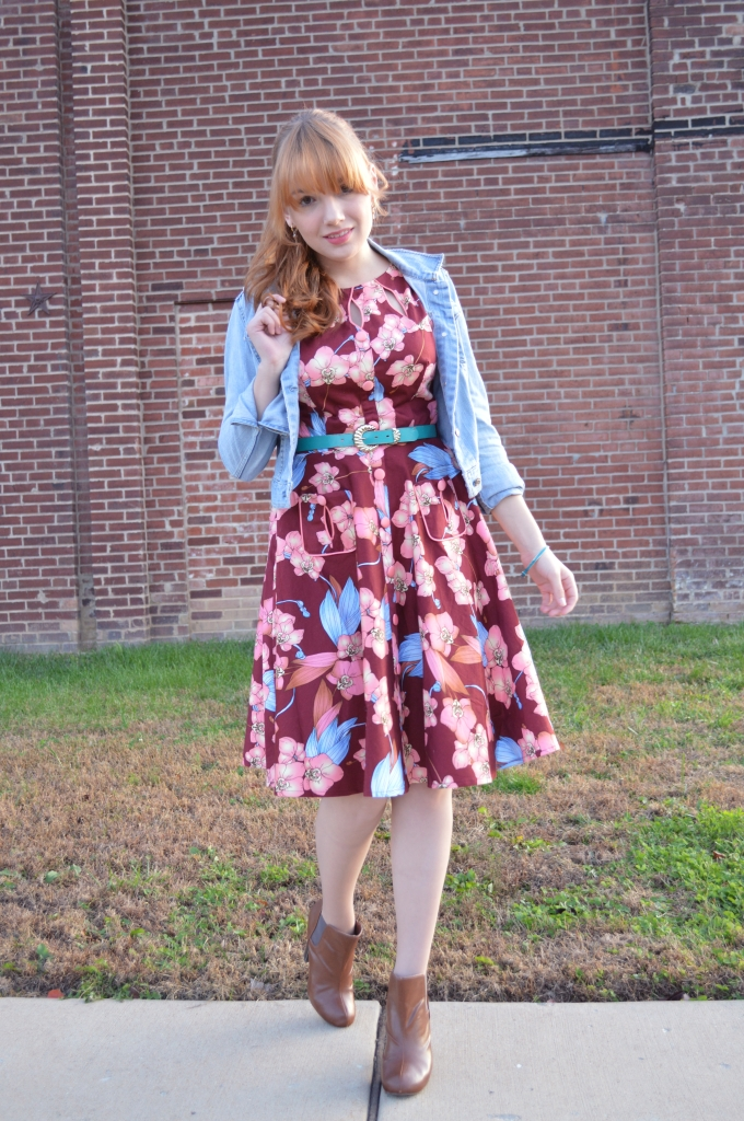 Voodoo Vixen Autumn Floral Retro Pin-Up Dress with Booties and a Denim Jacket - OhJuliaAnn (2)