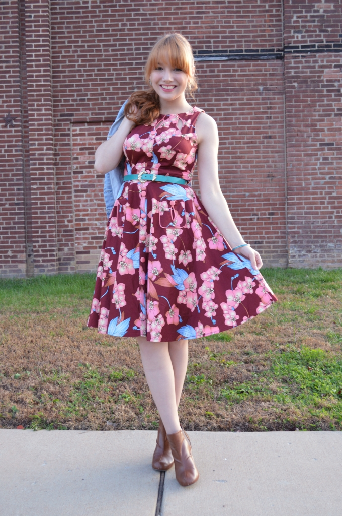 Voodoo Vixen Autumn Floral Retro Pin-Up Dress with Booties and a Denim Jacket - OhJuliaAnn (3)
