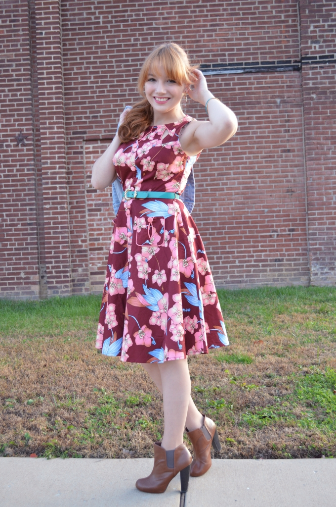Voodoo Vixen Autumn Floral Retro Pin-Up Dress with Booties and a Denim Jacket - OhJuliaAnn (4)