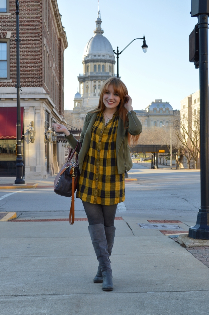 Buffalo Plaid Shirt Dress with Anthropology Senlis Satchel Oryany in downtown Springfield IL (10)