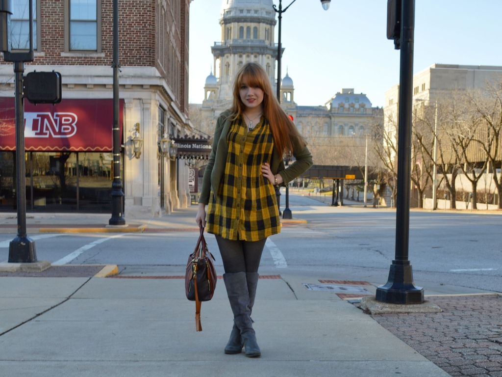 Buffalo Plaid Shirt Dress with Anthropology Senlis Satchel Oryany in downtown Springfield IL (12)
