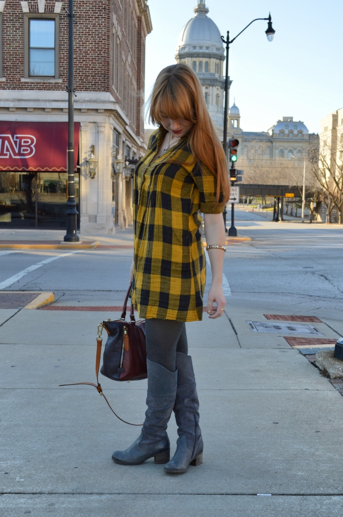 Buffalo Plaid Shirt Dress with Anthropology Senlis Satchel Oryany in downtown Springfield IL (13)