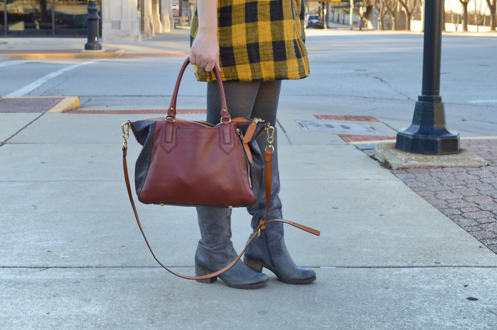 Buffalo Plaid Shirt Dress with Anthropology Senlis Satchel Oryany in downtown Springfield IL (8)