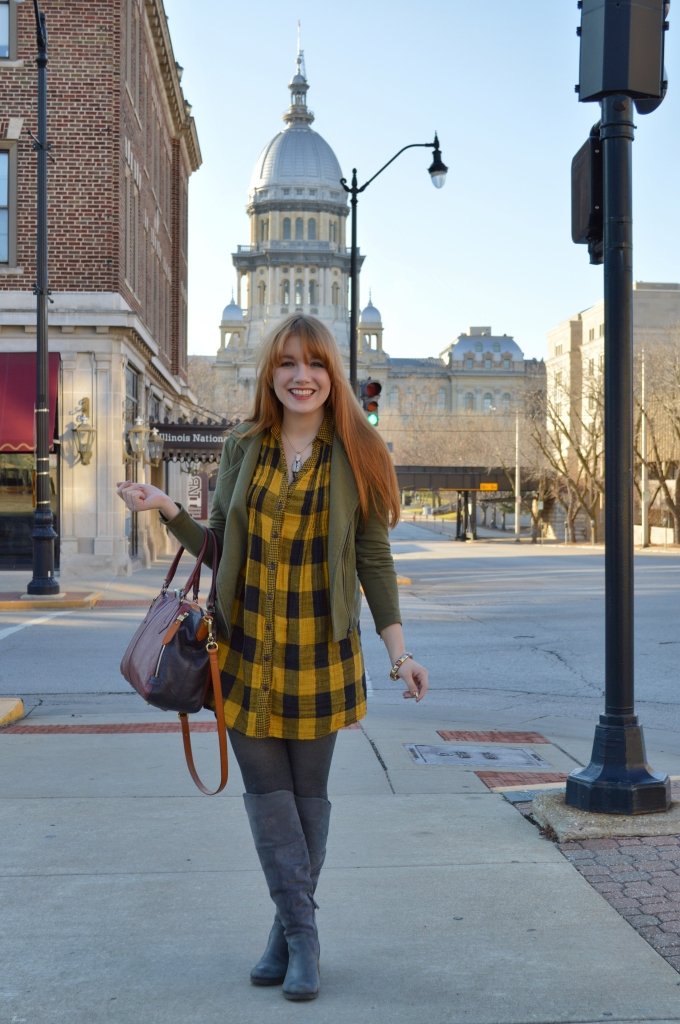 Buffalo Plaid Shirt Dress with Anthropology Senlis Satchel Oryany in downtown Springfield IL (9)