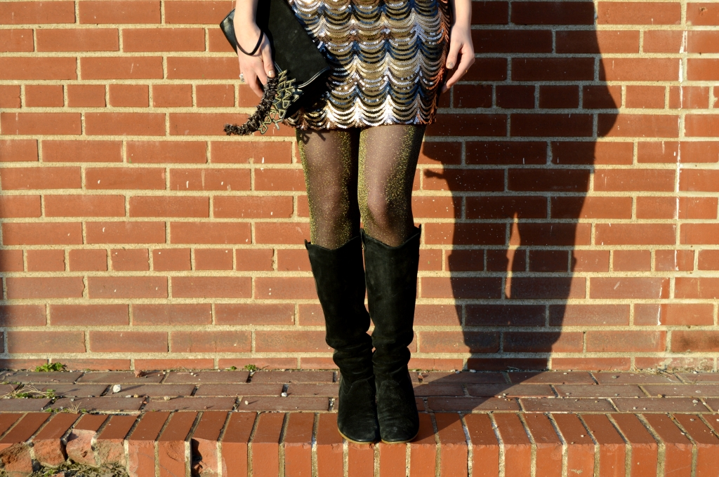 sequin dress pitaya scallop nye new years eve black gold bronze tights metallic boots