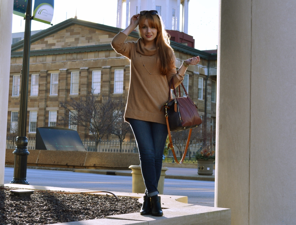 Outfit - Cowl Neck Sweatshirt Tunic with Naturalizer Leopard Booties and Anthropologie Satchel (3)