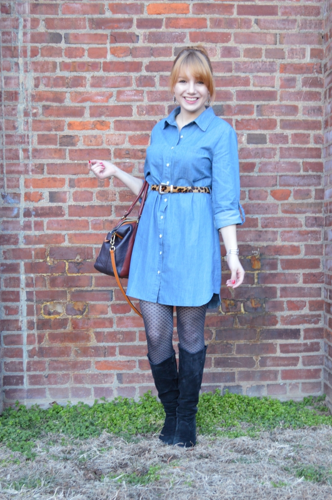 Pitaya Denim Shirt Dress Outfit with Boots and Leopard (2)