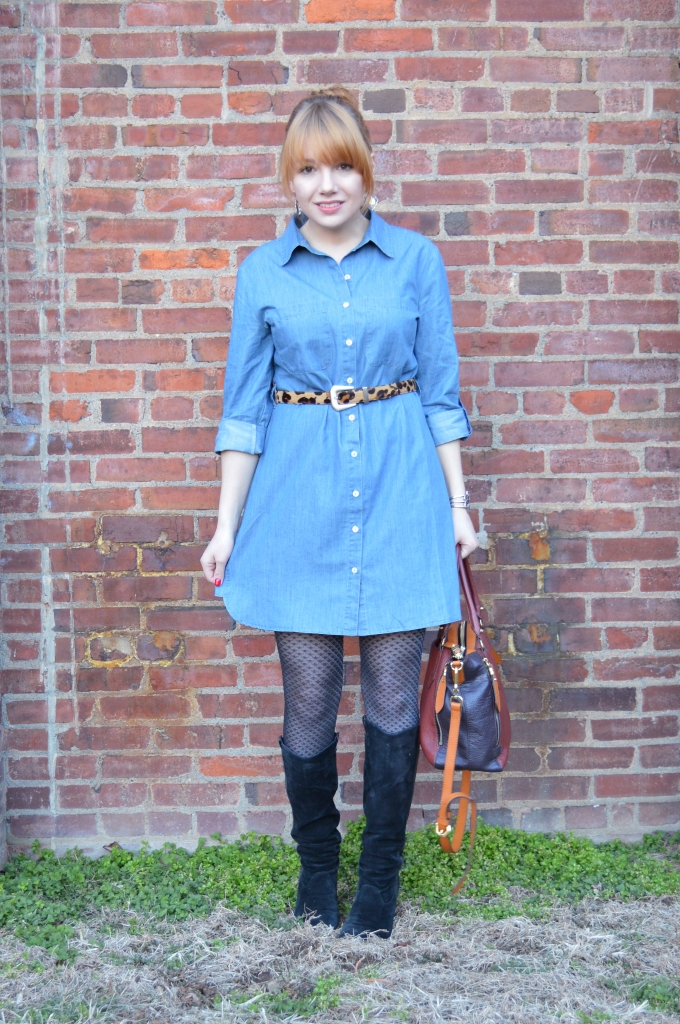 Pitaya Denim Shirt Dress Outfit with Boots and Leopard (3)