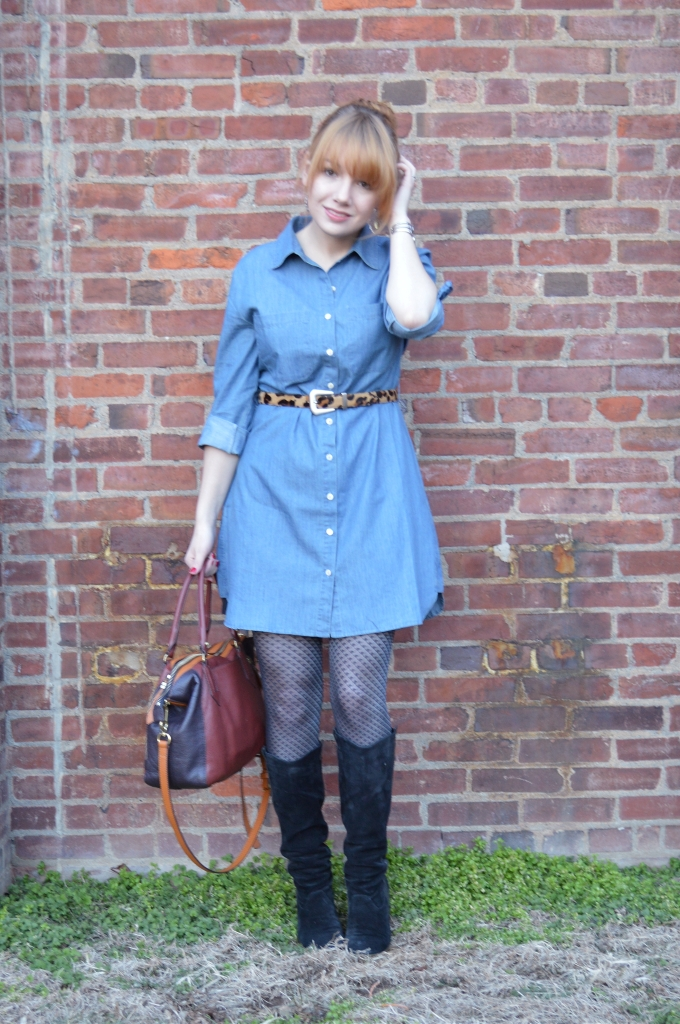 Pitaya Denim Shirt Dress Outfit with Boots and Leopard (4)