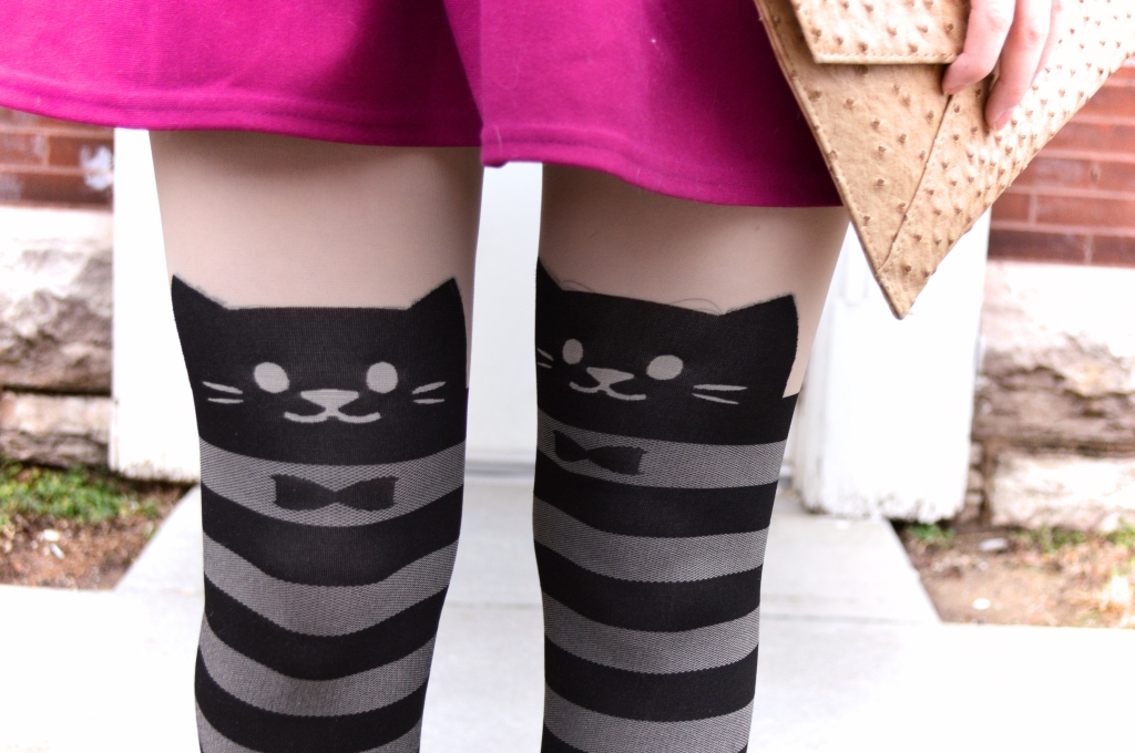Cat Tights with Top Shop Dress and Polka Dot Vogue T Strap Heels (4)