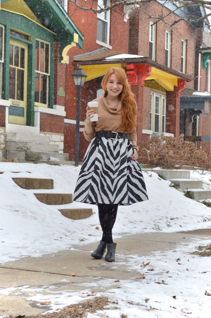 South St Louis City - Zebra circle midi skirt with leopard booties and a cat watch near Hartford Coffe Co (1)