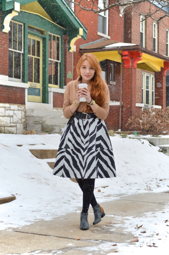 South St Louis City - Zebra circle midi skirt with leopard booties and a cat watch near Hartford Coffe Co (3)