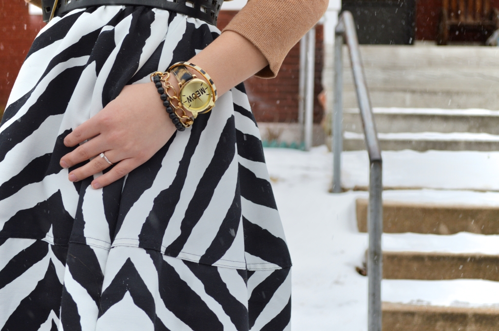 South St Louis City - Zebra circle midi skirt with leopard booties and a cat watch near Hartford Coffe Co (5)