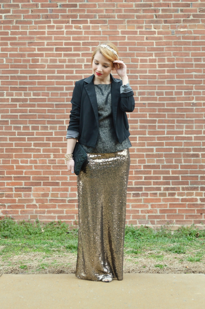 davids bridal beaded halo - formal with sequin maxi skirt (2)