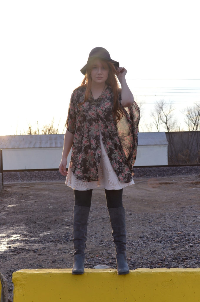 floral kimono with lace dress and boots (1)